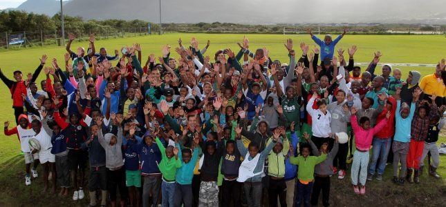 CAPE TOWN, July 9, 2015 - A selection of the best rugby players including Laureus ambassadors Bryan Habana and Schalk Brits visited youngsters at the Laureus-funded Vuka Rugby programme at their base in the Masiphumelele Township in Cape Town, South Africa. Photos by Petri Oeschger.